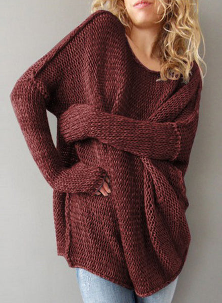 Women's Solid Dropped Shoulder Loose Pullover Sweater - girlyrose.com