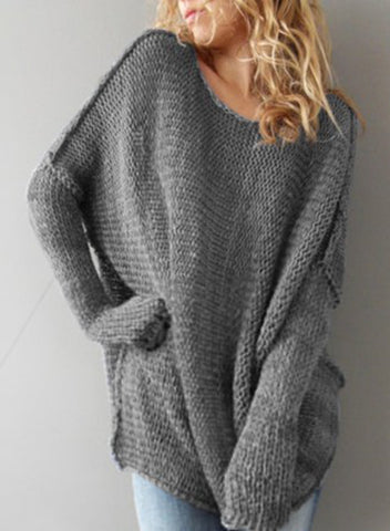 Women's Solid Dropped Shoulder Loose Pullover Sweater
