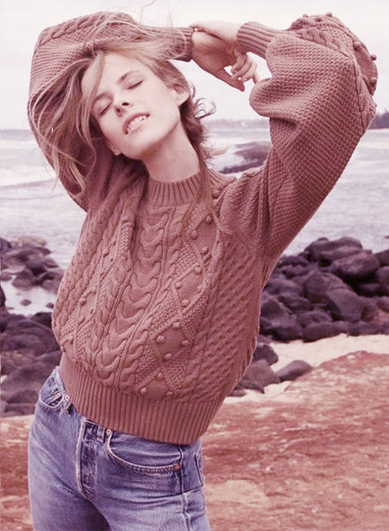 Solid Long Sleeve Cable Knit Sweater - girlyrose.com