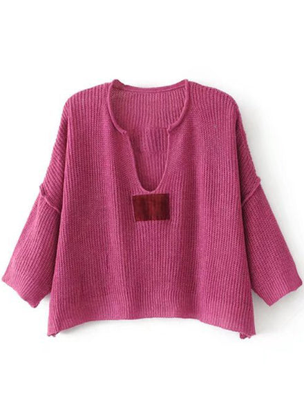 Solid V Neck Batwing Sleeve Loose Fit Cropped Sweater - girlyrose.com