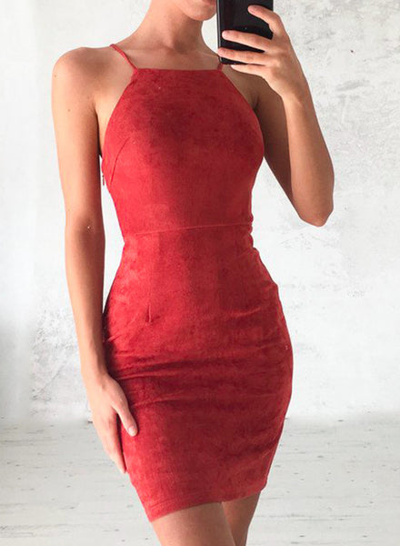 Red Spaghetti Strap Back Lace-up Bodycon Mini Club Dress - girlyrose.com