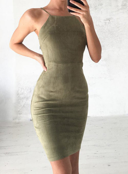 Army green Spaghetti Strap Back Lace-up Bodycon Mini Club Dress - girlyrose.com