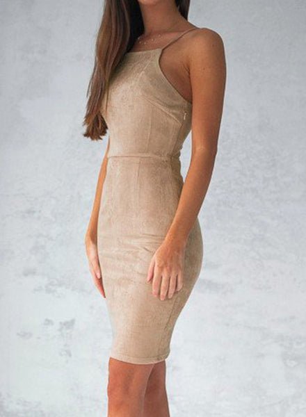 Khaki Spaghetti Strap Back Lace-up Bodycon Mini Club Dress