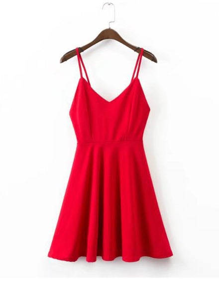 Spaghetti Strap Backless A-line Mini Dress - girlyrose.com