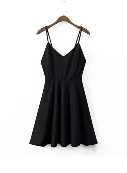 Spaghetti Strap Backless A-line Mini Dress