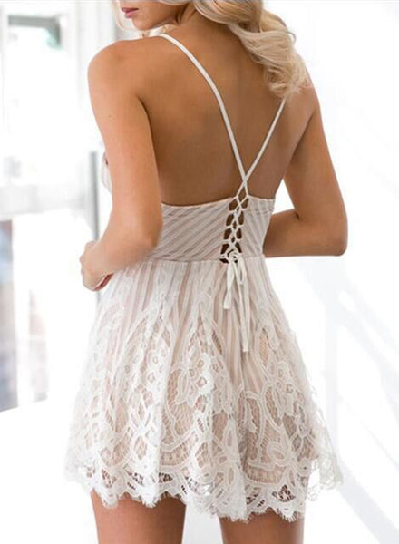 Spaghetti Strap Backless Floral Lace Romper - girlyrose.com