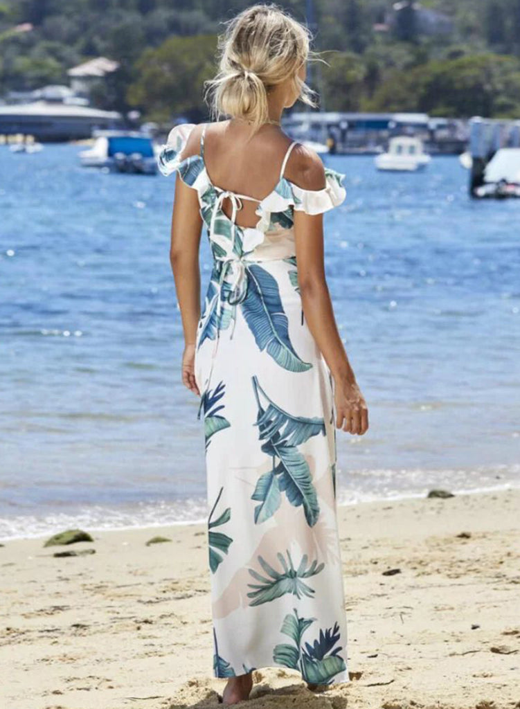 White Spaghetti Strap Cold Shoulder Ruffle Split Maxi Dress