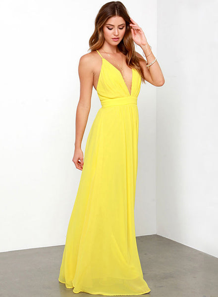 Yellow Spaghetti Strap Deep V Neck Backless Maxi Dresses - girlyrose.com