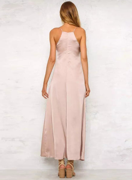 Pink Spaghetti Strap Floral Embroidery Slit Maxi Prom Dress