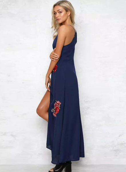 Navy Spaghetti Strap Floral Embroidery Slit Maxi Prom Dress