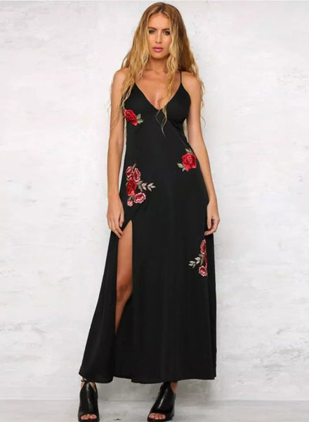 Black Spaghetti Strap Floral Embroidery Slit Maxi Prom Dress - girlyrose.com