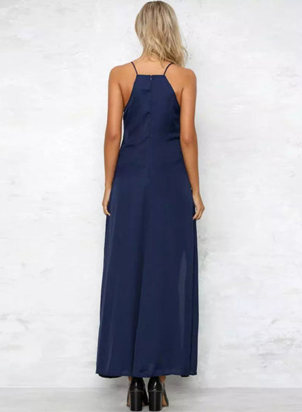 Navy Spaghetti Strap Floral Embroidery Slit Maxi Prom Dress - girlyrose.com