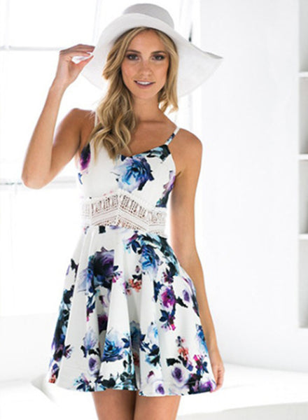 Spaghetti Strap Floral Printed Lace Waist Dress - girlyrose.com