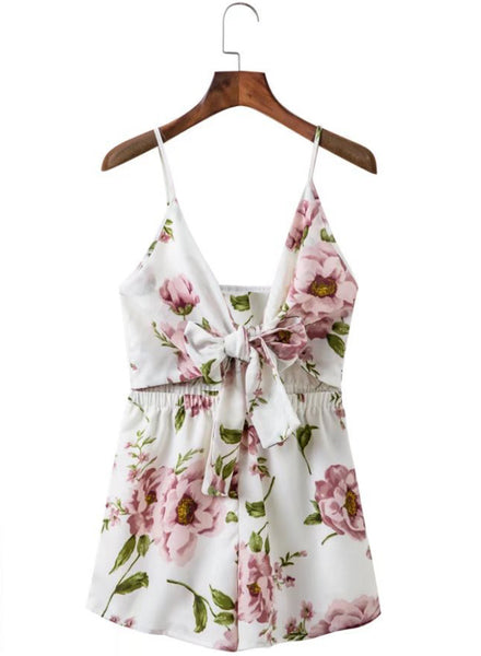 Spaghetti Strap Floral Printed Tie front Romper - girlyrose.com