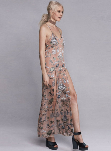 Apricot Spaghetti Strap High Slit Floral Printed Evening Dress