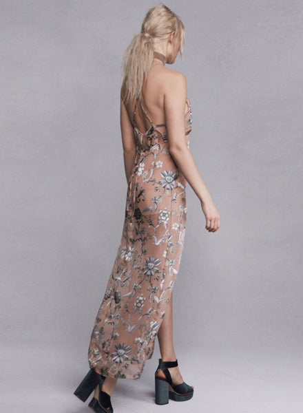 Apricot Spaghetti Strap High Slit Floral Printed Evening Dress - girlyrose.com