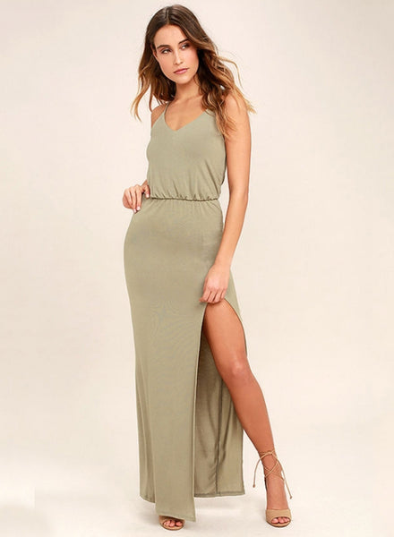 Olive green Spaghetti Strap High Slit Solid Prom Dress