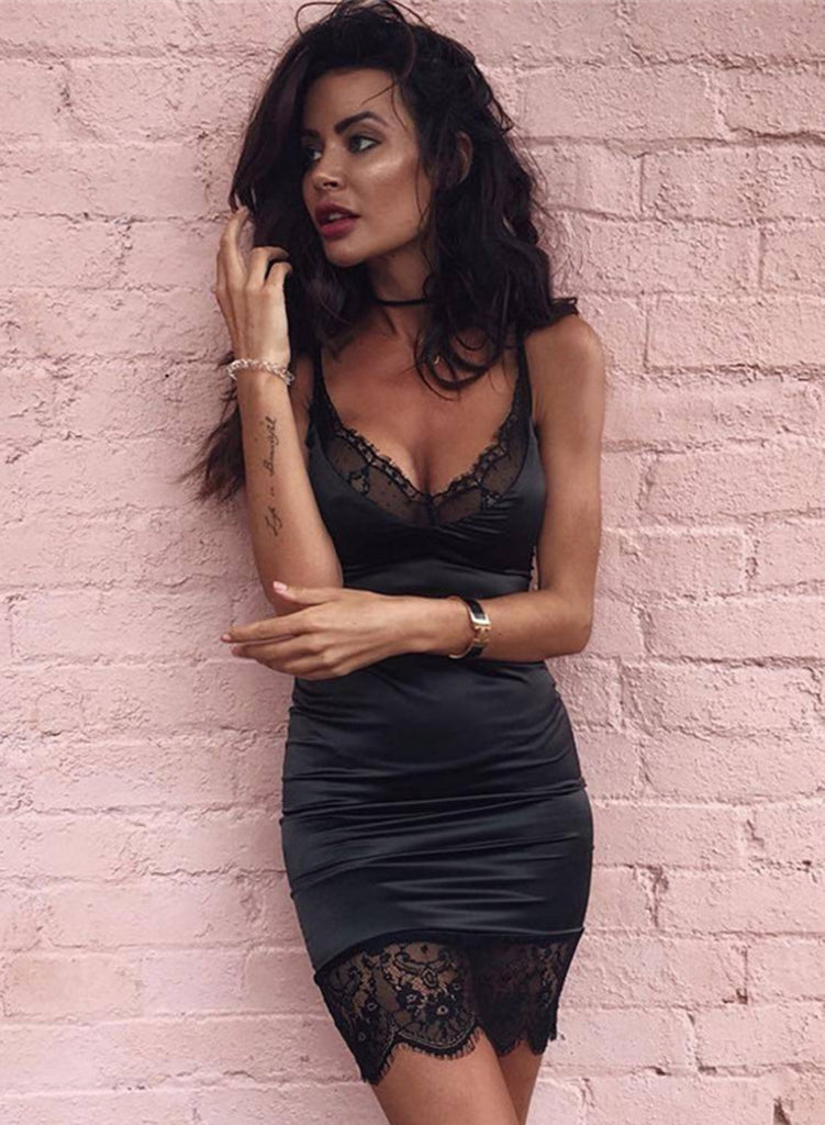 Black Spaghetti Strap Lace Panel Bodycon Mini Dress - girlyrose.com