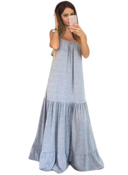 Grey Spaghetti Strap Loose Maxi Solid Dress - girlyrose.com