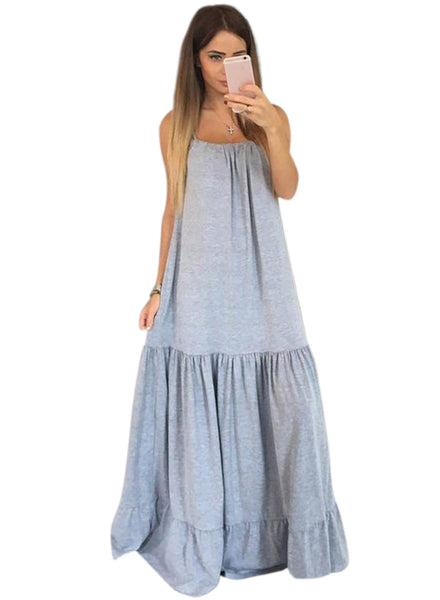 Grey Spaghetti Strap Loose Maxi Solid Dress