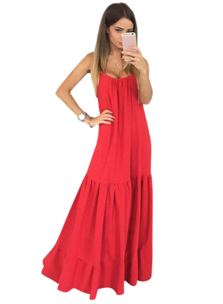 Red Spaghetti Strap Loose Maxi Solid Dress - girlyrose.com