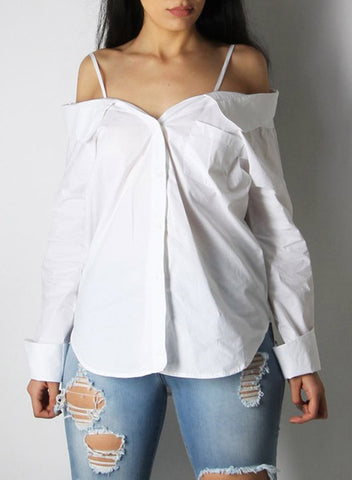 Spaghetti Strap off Shoulder Long Sleeve Button down Shirt - girlyrose.com