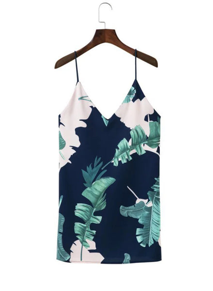 blue Spaghetti Strap Palm Printed Mini Dress - girlyrose.com