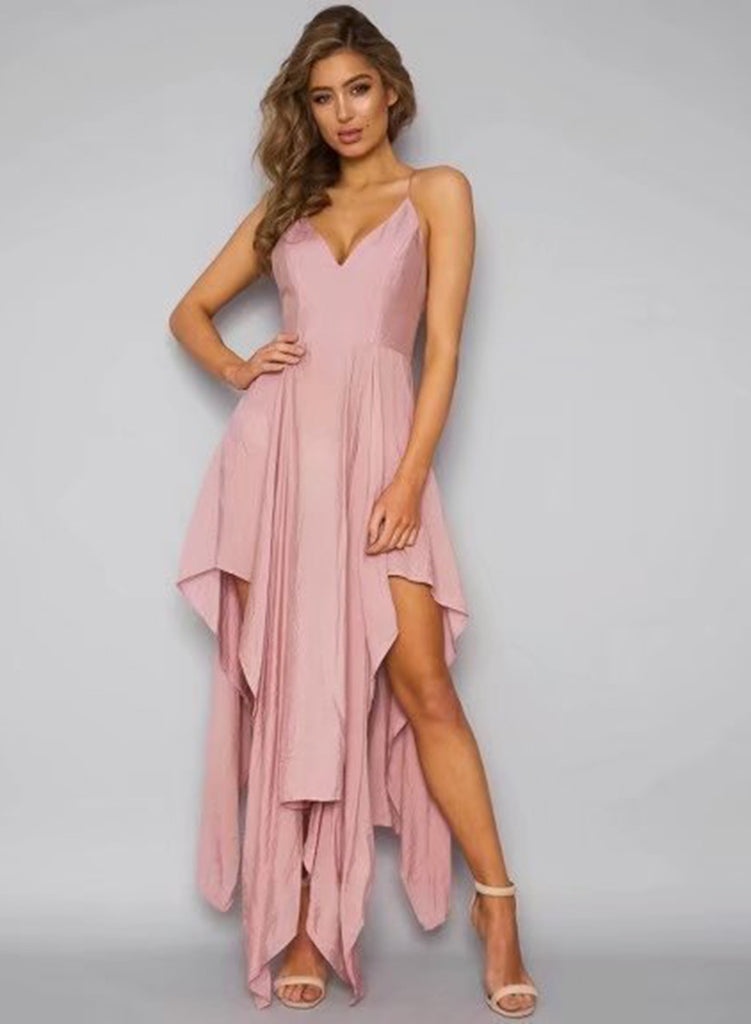 Pink Spaghetti Strap Sleeveless Asymmetrical Dress