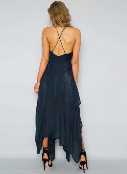 Navy Spaghetti Strap Sleeveless Asymmetrical Dress