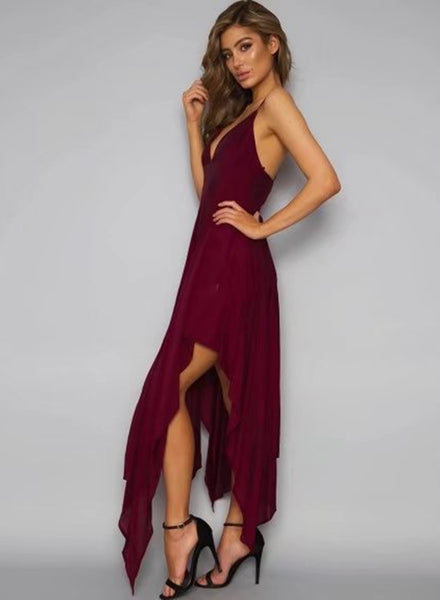 Burgundy Spaghetti Strap Sleeveless Asymmetrical Dress - girlyrose.com