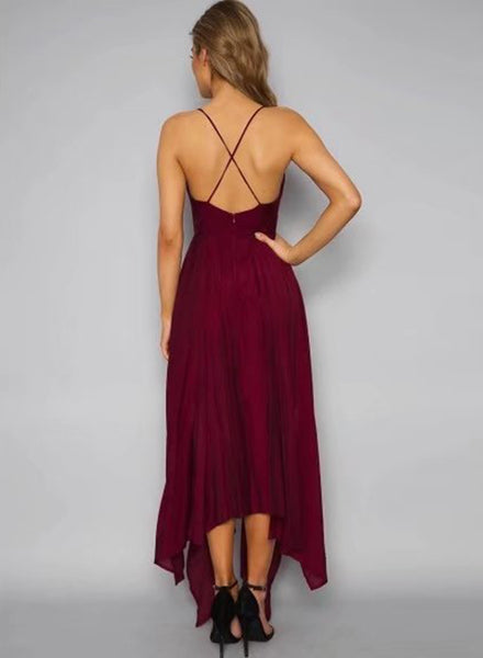 Burgundy Spaghetti Strap Sleeveless Asymmetrical Dress
