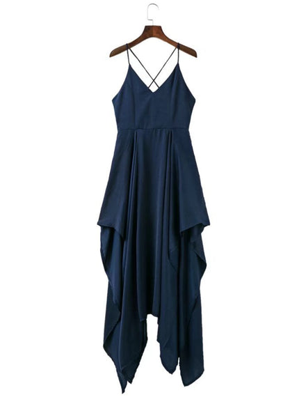 Navy Spaghetti Strap Sleeveless Asymmetrical Dress - girlyrose.com
