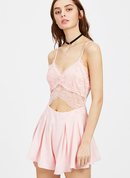 Spaghetti Strap Sleeveless Backless Lace Panel Pleated Romper