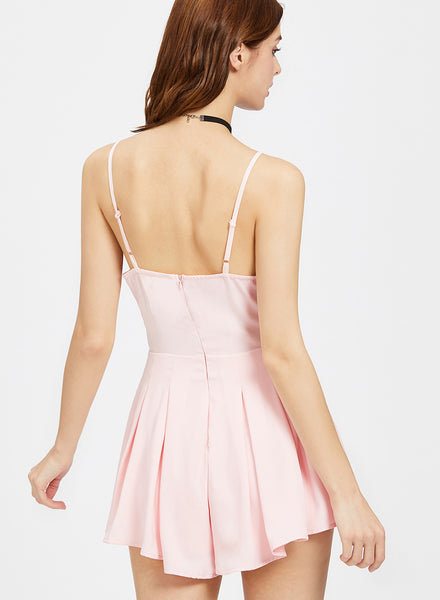 Spaghetti Strap Sleeveless Backless Lace Panel Pleated Romper - girlyrose.com