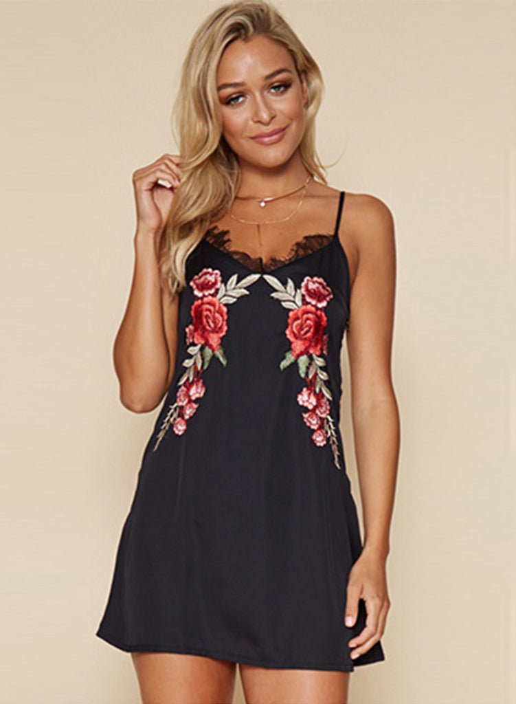 Black Spaghetti Strap Sleeveless Floral Embroidery Mini Dress - girlyrose.com