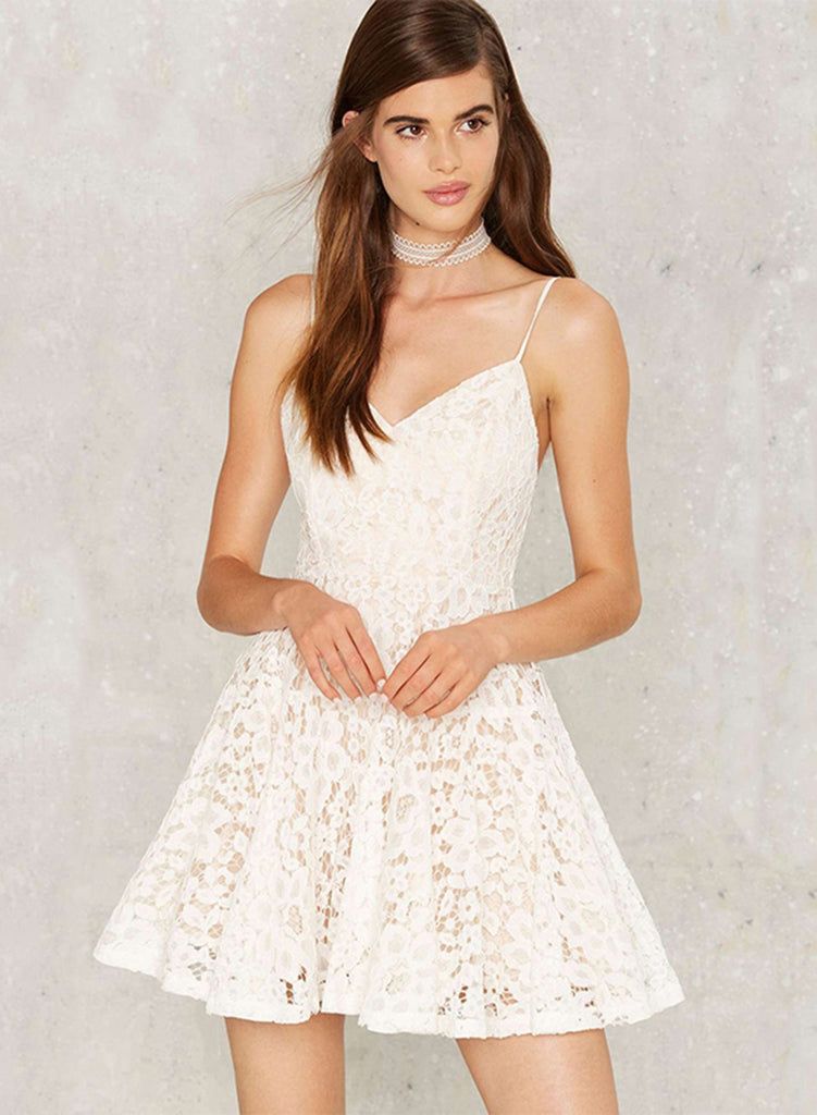 Spaghetti Strap Sleeveless Lace A-line Dress - girlyrose.com