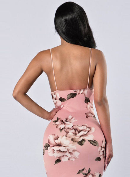 Pink Spaghetti Strap V Neck Bodycon Floral Printed Dress - girlyrose.com