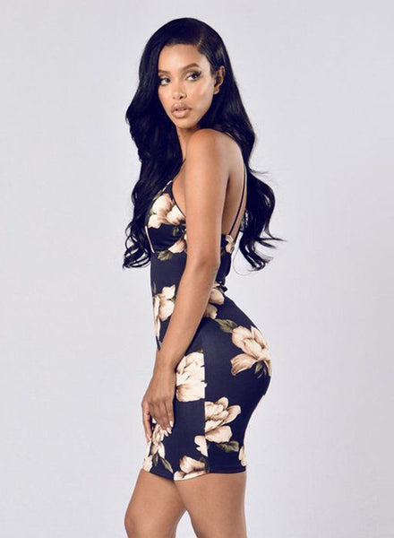 Navy Spaghetti Strap V Neck Bodycon Floral Printed Dress