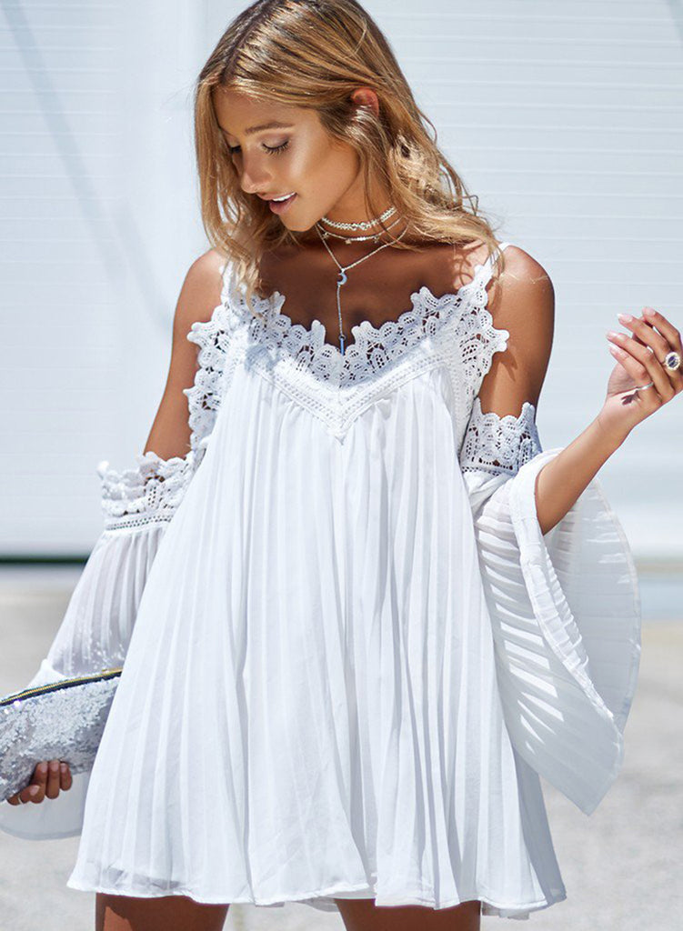 White Spaghetti Strap V Neck Lace Trim A-line Dress