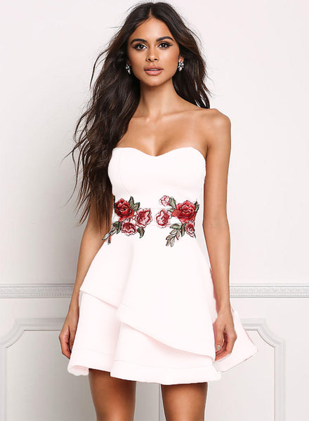 White Strapless Floral Embroidery A-line Party Dress - girlyrose.com