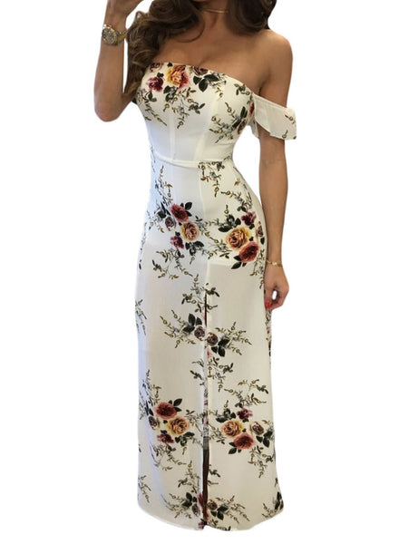 Strapless Floral Printed Split Maxi Dress