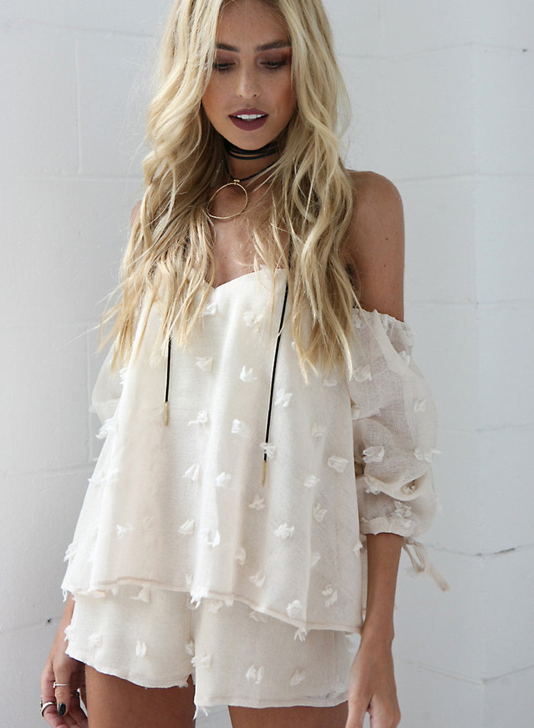Strapless off Shoulder Long Sleeve Solid Romper - girlyrose.com