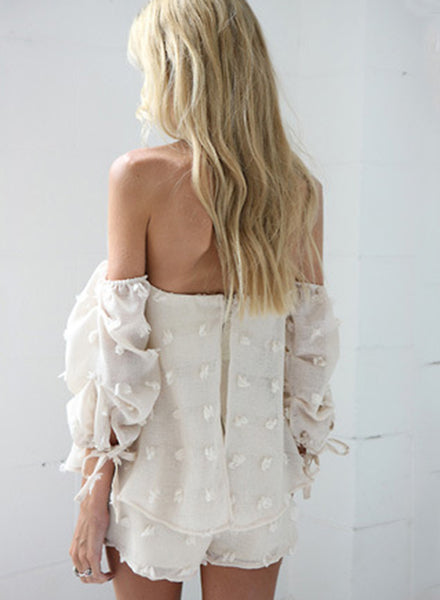 Strapless off Shoulder Long Sleeve Solid Romper