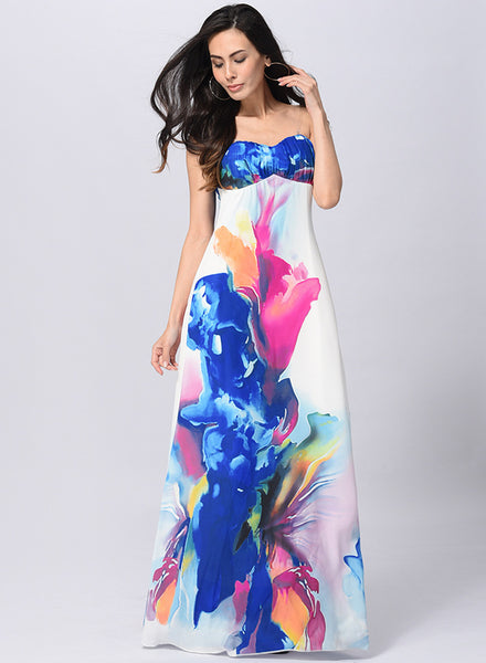 Strapless Painting Printed Maxi Dress - girlyrose.com