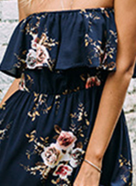 Strapless Ruffle Floral Printed Maxi Dress