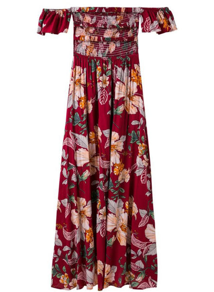 Strapless Short Sleeve Floral Printed Slit Maxi Dress - girlyrose.com