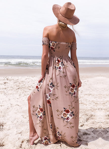 Flesh pink Strapless Short Sleeve High Slit Maxi Dress - girlyrose.com