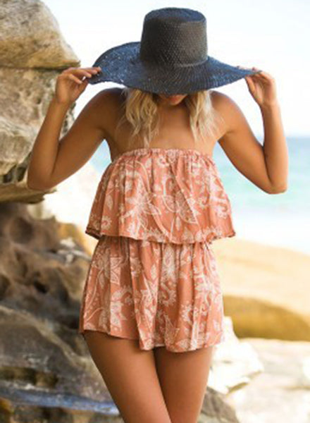 Strapless Sleeveless Floral Printed Loose Romper - girlyrose.com