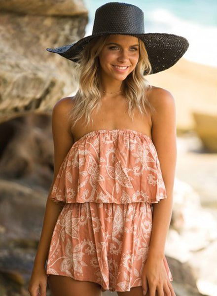 Strapless Sleeveless Floral Printed Loose Romper