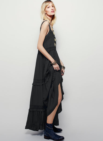 Strappy Sleeveless Backless Maxi Solid Dress - girlyrose.com
